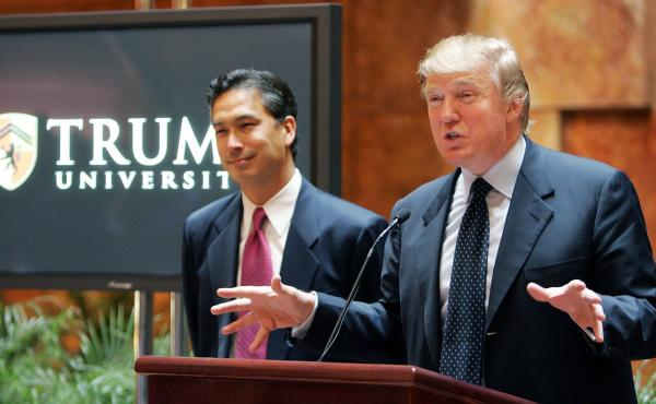 Donald Trump at a 2005 news conference about Trump University. Now, the New York attorney general says Trump has agreed to a $25 million settlement with over 6,000 plaintiffs who said the university had defrauded them.