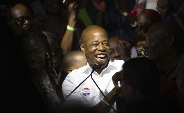 Democratic mayoral candidate Eric Adams mingles with supporters during his election night party Tuesday in New York City.
