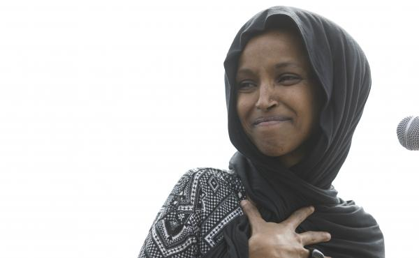 Rep. Ilhan Omar (D-Minn.) attends a Youth Climate Strike on March 15 in Washington. On Thursday, the New York Post incited criticism by featuring a partial quote by Omar with an image of the Sept. 11 terrorist attack.