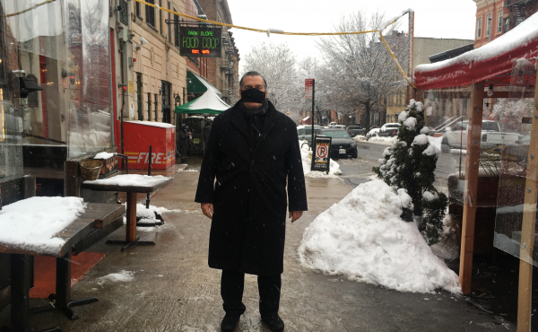 Owner Donald Minerva outside Scottadito Osteria Toscana restaurant in Brooklyn, N.Y., which has been closed for indoor dining for two months. The restaurant is reopening at reduced capacity on Valentine's weekend.