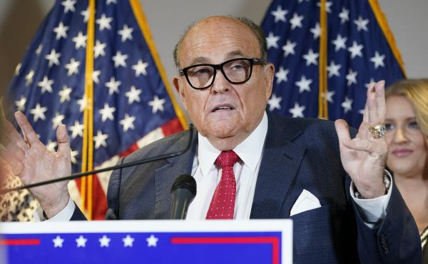 """The New York State Bar Association is launching a """"historic"""" inquiry into Trump attorney Rudy Giuliani, shown here at a November press conference in Washington, D.C."""