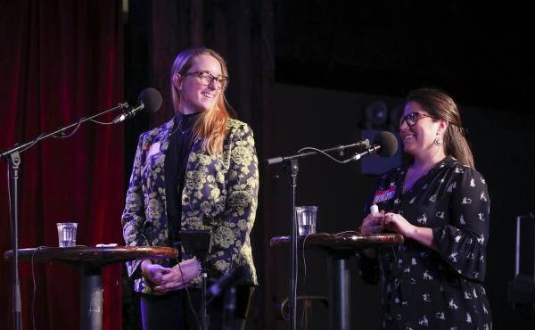 Contestants Jamie Wernet and Fiona Finlay-Hunt play games on Ask Me Another at the Bell House in Brooklyn, New York.