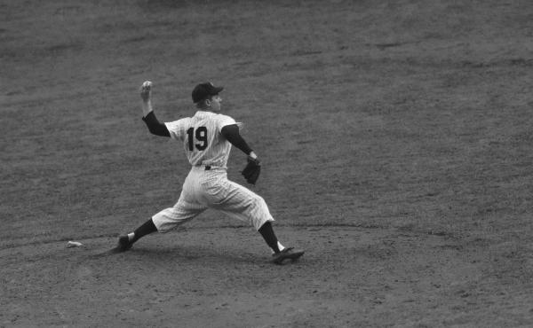 "Ed ""Whitey"" Ford, New York Yankees, pitching in the fourth game of the World Series against the Philadelphia Phillies in Oct.1950."