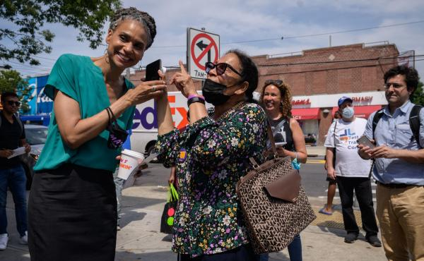 New York mayoral candidate Maya Wiley greets voters in the East Flatbush area of Brooklyn. New Yorkers are voting in primary elections Tuesday, after a closely watched race.