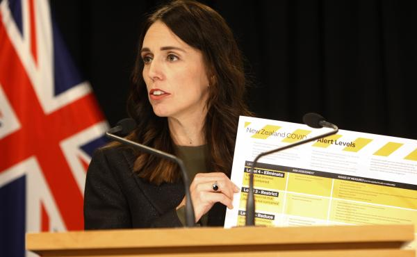 New Zealand Prime Minister Jacinda Ardern, shown here in March, says community spread of coronavirus is believed to be eliminated in the country.