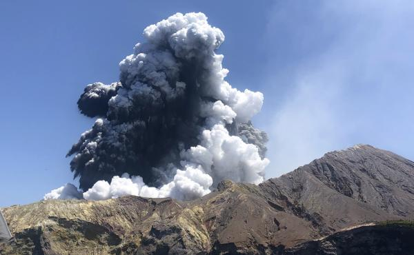 A view of the White Island volcanic eruption Monday off the coast of Whakatane, New Zealand. Health officials reported some patients received burns on at least 30% of their bodies.