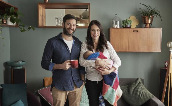 Prime Minister Jacinda Ardern and partner Clarke Gayford pose with their baby daughter Neve Gayford at their home on Thursday in Auckland, New Zealand.