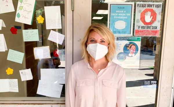 Kristyn Peck, CEO of Lutheran Social Services of the National Capital Area, outside the group's Fairfax office.