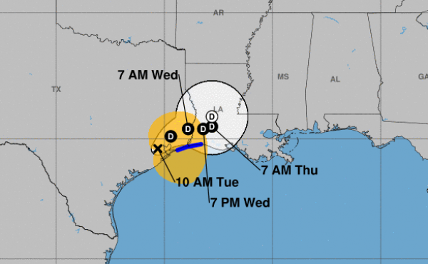 Nicholas will slow to a crawl as it passes over Louisiana from Texas, the National Hurricane Center says.