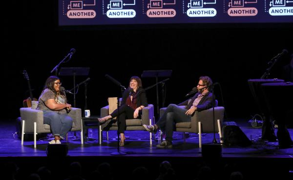 Comedian Nicole Byer is quizzed on the movie Ghost, alongside Ask Me Another host Ophira Eisenberg and Jonathan Coulton at the Moore Theatre, in Seattle, Washington.