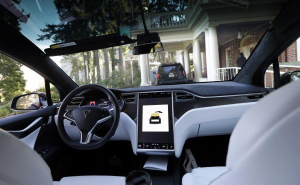 The interior of a Tesla Model X 75D semi-autonomous electric vehicle is shown in January 2017. The company's autopilot system has been engaged at the time of a number of accidents, including a crash that killed the driver in California in March, but the c