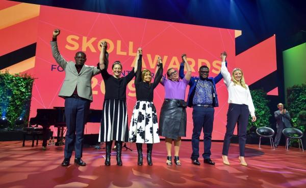 Trying to make the world a better place: (left to right) Skoll Award winners Gregory Rockson of mPharma, Nicola Galombik and Maryana Iskander of Harambee Youth Employment Accelerator, Nancy Lublin of Crisis Text Line, Bright Simons of mPedigree and Julie