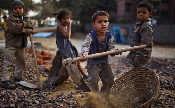 Nobel Laureate Kailash Satyarthi has fought to end child labor in India, where 11 percent of the country's children work. In 2010, these children toiled at a construction site in New Delhi.