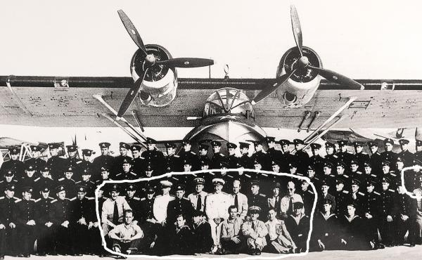 Soviet aviators with their American colleagues in front of a version of the PBY Catalina aircraft in Elizabeth City, N.C. The U.S. trained Soviet pilots to fly the plane as part of Project Zebra, a secret military program during World War II.