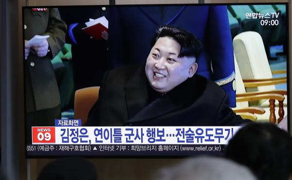 """A TV report in South Korea uses file footage of North Korean leader Kim Jong Un, who supervised the test-firing of a """"new-type tactical guided weapon"""" on Wednesday."""