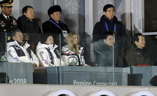 From front row left, South Korean President Moon Jae-in; his wife, Kim Jung-sook and Ivanka Trump watch the closing ceremony of the 2018 Winter Olympics. Kim Yong Chol, vice chairman of North Korea's ruling Workers' Party Central Committee, stands third f