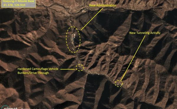 Satellite images reveal tunneling and other construction activity at two sites believed to house long-range missiles.