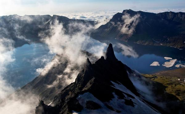 """Mount Paektu, which sits on the border with China, is known in North Korea as the """"sacred mountain of revolution"""" and considered the legendary birthplace of Kim Jong Il and Korean culture."""