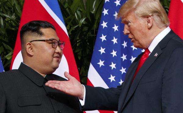 President Trump meets with North Korean leader Kim Jong Un on Sentosa Island in Singapore.