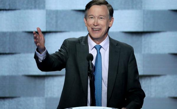 Colorado Gov. John Hickenlooper delivers remarks on the fourth day of the Democratic National Convention in Philadelphia on July 28, 2016.
