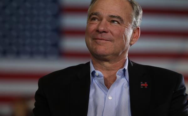 U.S. Sen Tim Kaine (D-VA) looks on during a campaign rally on Oct. 22, 2016, in Pittsburgh, Pa.