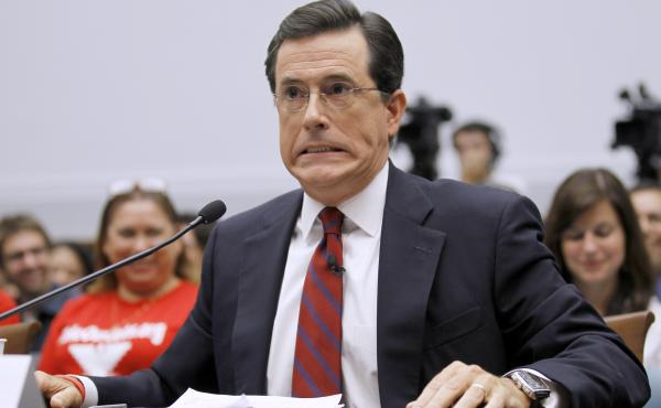 This is not a photo of Stephen Colbert answering the questions we planned to ask Lena Dunham, but rather, testifying before the House Immigration, Citizenship, Refugees, Border Security and International Law subcommittee in September 2010. His face kind o