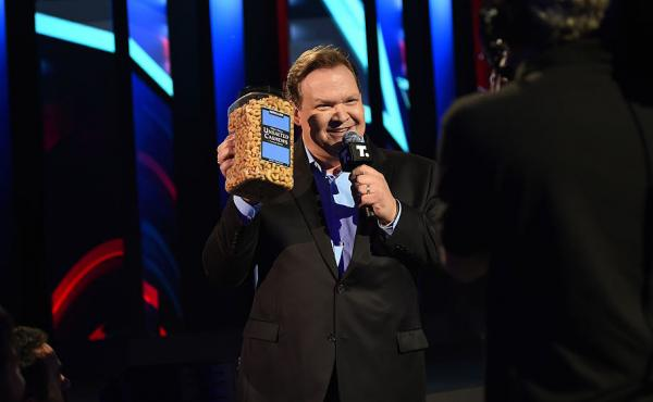 Comedian Andy Richter appears on stage during the Turner Upfront 2016 show at Madison Square Garden.