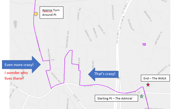 The route for the Gerrymander 5K, as drawn by its sponsor, the League of Women Voters of Asheville-Buncombe County.