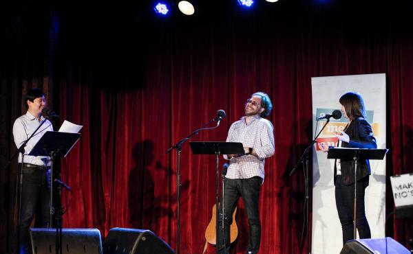 Art Chung, Jonathan Coulton and Ophira Eisenberg appear on Ask Me Another at the Bell House in Brooklyn, New York.