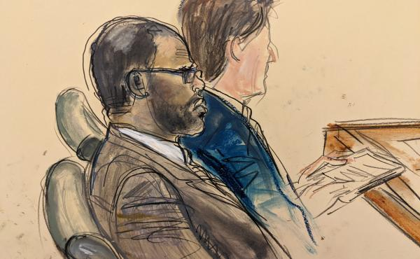 In this courtroom artist's sketch made from a video screen monitor, R. Kelly (left) and lawyer Thomas Farinella listen during the opening day of his trial on Aug. 18, 2021 in Brooklyn, New York.