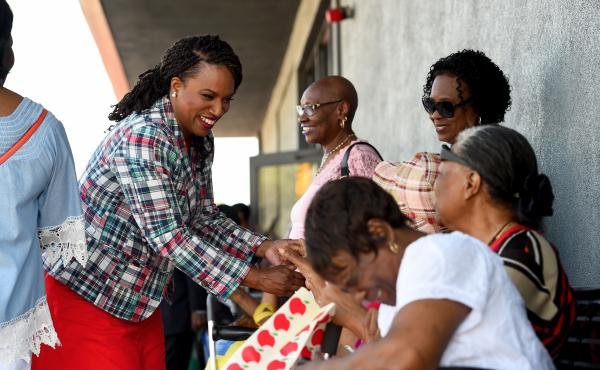 Ayanna Pressley begins her day at Jubilee Christian Church on Blue Hill Avenue in Mattapan, where a couple of hundred seniors have gathered ahead of the annual District B-3 Community Harbor Cruise, sponsored by the Boston Police Department.