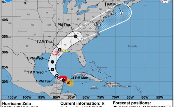 Hurricane Zeta is forecast to make landfall in Louisiana on Wednesday night.×