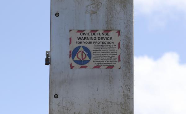 A Hawaii Civil Defense Warning Device, which sounds an alert siren during natural disasters, is shown in Honolulu on Nov. 29, 2017. The alert system is tested monthly, but now Hawaii residents will hear a new tone designed to alert people of an impending