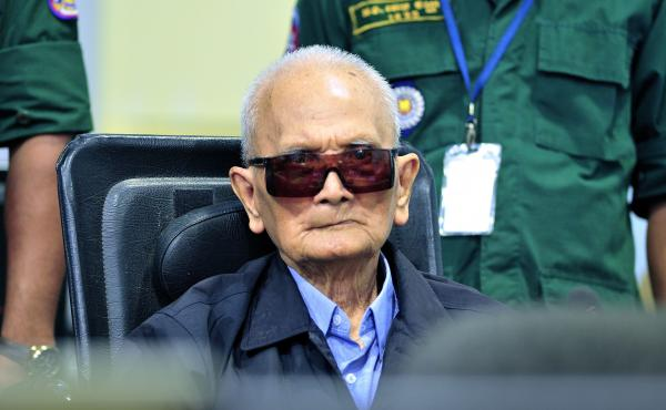 A handout photo released by the Extraordinary Chambers in the Courts of Cambodia (ECCC) on November 16, 2018, shows former Khmer Rouge leader Nuon Chea during his war crimes trial last year in Phnom Penh.