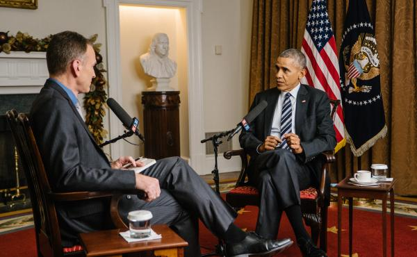 NPR's Steve Inskeep interviews President Obama in the Cabinet Room of the White House on Thursday.
