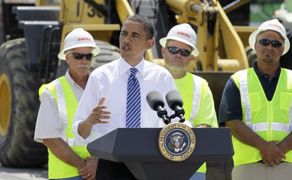 President Barack Obama delivers remarks at the groundbreaking of a road project funded by the American Recovery and Reinvestment Act, Friday, June 18, 2010, in Columbus, Ohio.