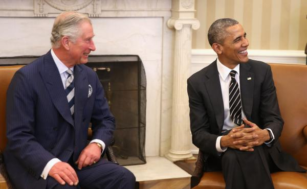 Prince Charles, Prince of Wales smiles with President Obama at the White House Thursday.