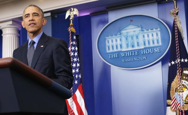 President Obama speaks to the media during his year-end news conference at the White House on Friday.