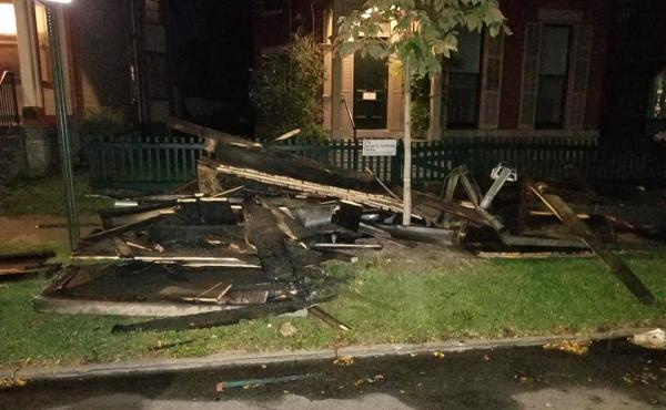 Fire damage at the National Susan B. Anthony Museum & House.