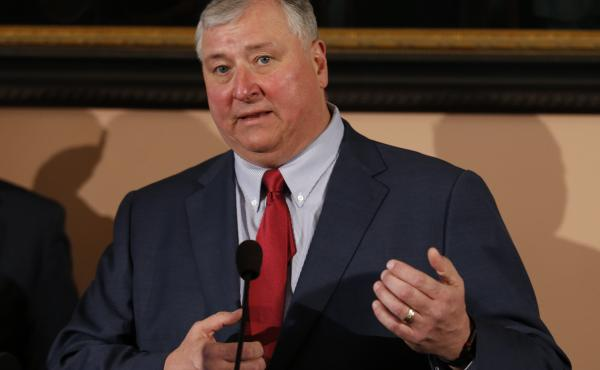 Ohio House Speaker Larry Householder was arrested on Tuesday morning, hours ahead of a planned announcement of a $60 million bribe investigation by federal prosecutors. Householder is seen here in March 2019.