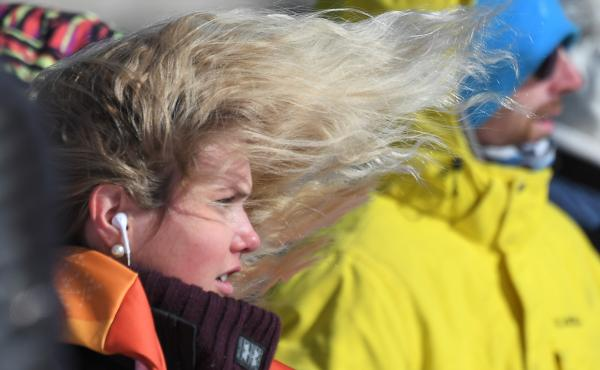 Norway's Silje Norendal's hair blows in the strong wind during the women's snowboard slopestyle final event at the Phoenix Snow Park during the Pyeongchang 2018 Winter Olympic Games on Monday.