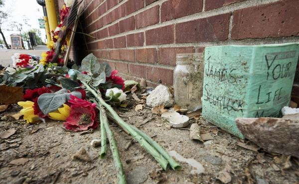The site of James Scurlock's shooting death in Omaha, Neb., is still being preserved as a memorial in mid-September. Last Tuesday, a grand jury indicted Jake Gardner in the killing, handing down four criminal counts, including manslaughter.