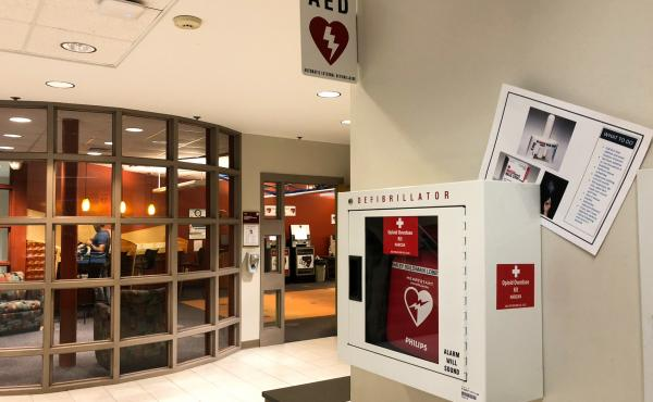 """Some sixty """"Opiod Overdose Kits"""" have been added defibrillator boxes in Bridgewater State University dorms and academic buildings like this one."""