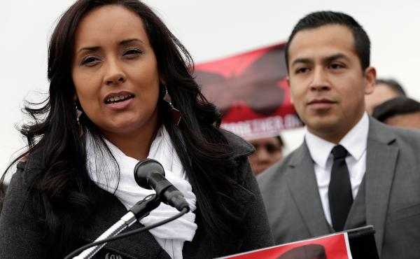 Erika Andiola, an immigrant rights activist, speaks at a news conference about immigration reform in 2013.