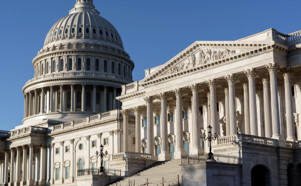 The Senate side of the Capitol is seen in Washington, D.C., early Monday. Experts say President-elect Joe Biden's ability to reshape the U.S. immigration system will be sharply limited if Republicans retain control of the Senate.