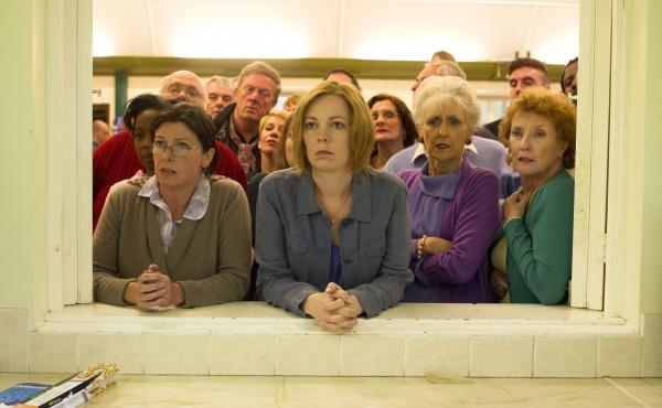 Julia (Olivia Colman, center left) and June (Anita Dobson, center right) in the musical London Road.