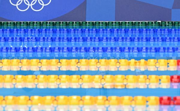 Empty lanes are pictured ahead of a heat for a swimming event during the Tokyo 2020 Olympic Games at the Tokyo Aquatics Center.