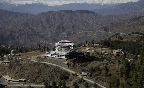 A view of the luxury Frontier Tower Hotel, built near the ski resort on a Swat Valley peak. Residents often describe their region as the Switzerland of Pakistan because of these views.