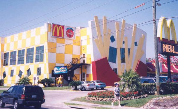 The World's Largest Entertainment McDonald's in Orlando, Fla., was once known for its bizarre exterior. The restaurant has since undergone renovations. It is a planned stop on Max Krieger's tour of strange and unusual McDonald's in Florida.