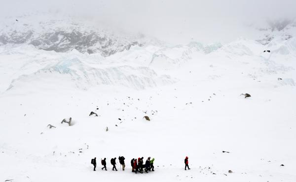 Rescuers carry a Sherpa injured by an avalanche that flattened parts of Everest Base Camp on April 25, 2015. A 7.8 magnitude earthquake hit Nepal and took at least 17 lives at Everest Base Camp, including seven Sherpas.
